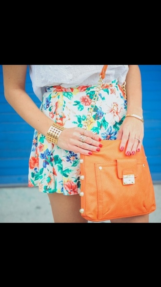 bag cute bag flowered shorts cute shorts pretty shorts trendy stylish white top tank top t-shirt colorful flowers summer white blue orange skirt pretty shorts