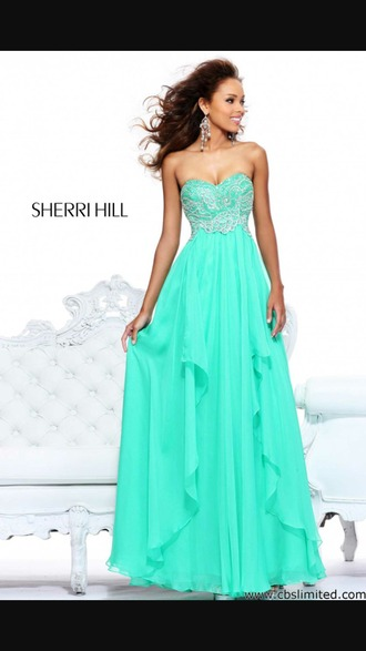dress long prom dress teal dress