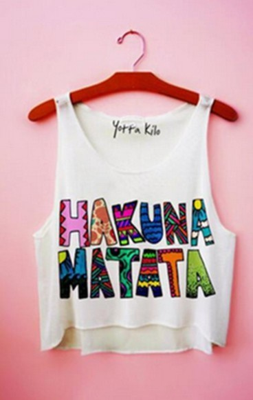 crop tops tank top white tank top colorful yotta kilo hakuna matata coloful tribal pattern