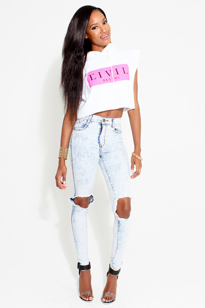 Acid blue ripped jeans