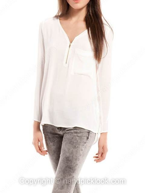 White V-neck Long Sleeve Pockets Dipped Hem Blouse - HandpickLook.com