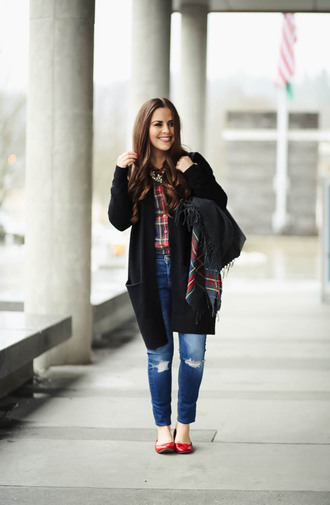 dress corilynn blogger cardigan shirt jeans bag shoes scarf jewels winter outfits plaid shirt ballet flats red shoes red checkered shirt black cardigan ripped jeans red flats