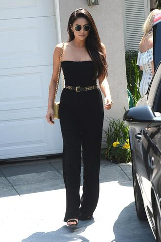 shoes all black everything pants top shay mitchell black jumpsuit