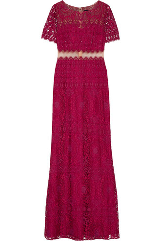 gown embellished lace plum dress