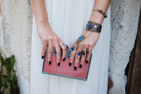 bag clutch pink blogger summer dress summer outfits maritsa jewels hippie boho boho chic