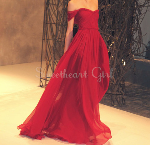 Amazing red chiffon strapless sweetheart neckline prom dress,evening dress