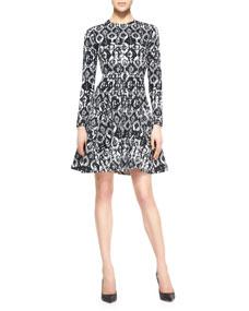Sleeve geometric stretch dress, black/ivory