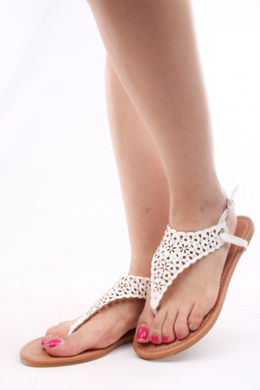 WHITE FAUX LEATHER RHINESTONES CUTOUT ANKLE STRAP SANDALS,Womens ...
