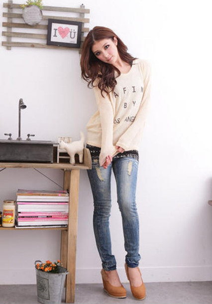 Sweater ripped jeans jeans korean fashion - Wheretoget