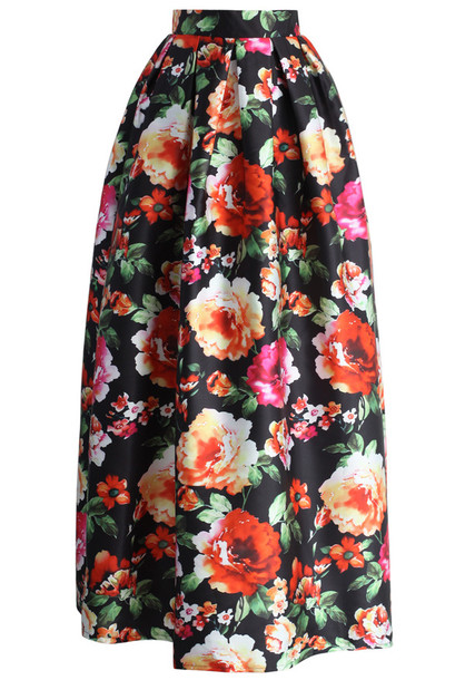 skirt chicwish amorous floral maxi skirt pleated
