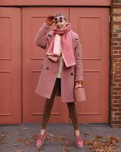 coat,pink coat,wool coat,skinny jeans,polka dots,loafers,scarf,sweater,sunglasses