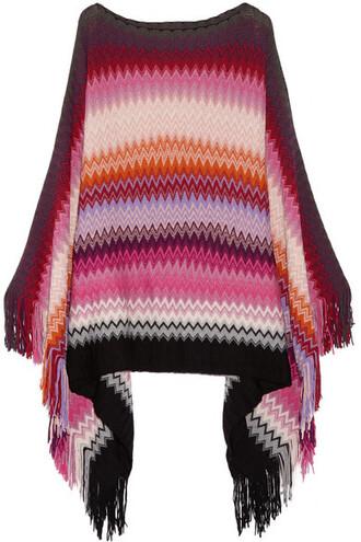poncho knit wool crochet burgundy top