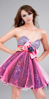dress,prom dress,animal print,short dress,bow,purple,leopard print,pink,prom