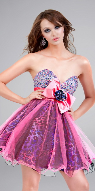 dress prom dress animal print short dress bow purple leopard print pink prom