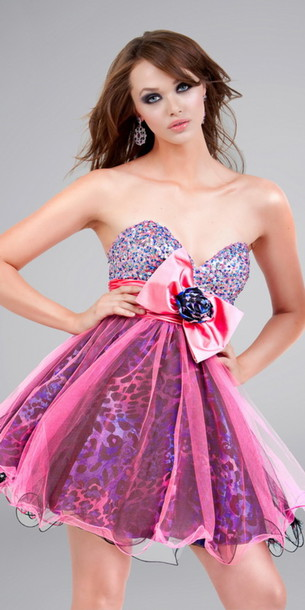 Dress: prom dress, animal print, short dress, bow, purple, leopard ...