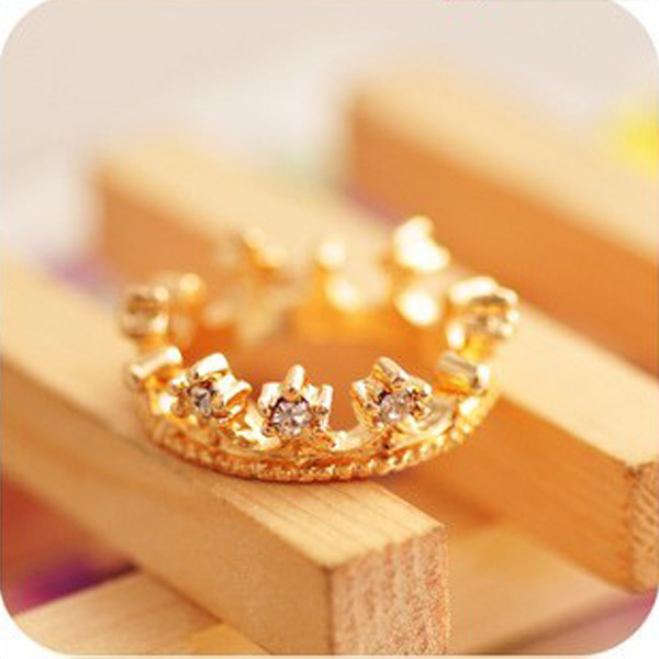 New Fashion Lovely Cute Gold Crown Crystal Rhinestone Ring Wholesale | eBay