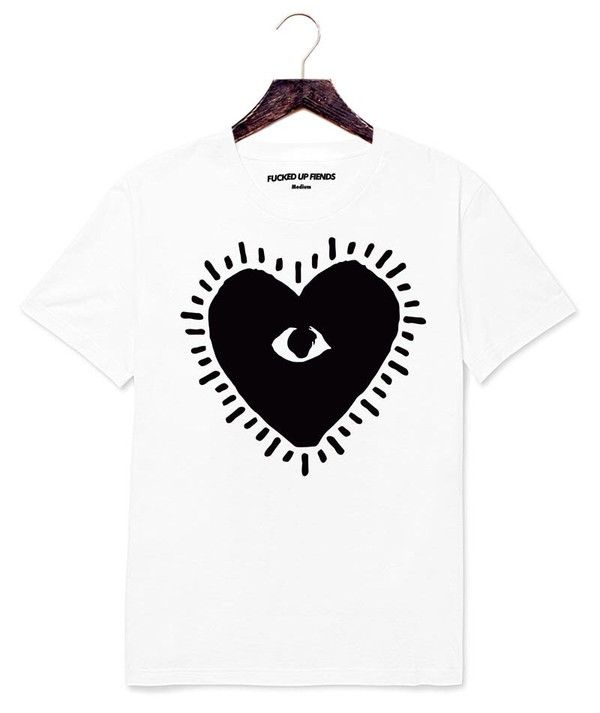 t-shirt comme des garcons play cotton white better off dead fucked up fiends anti anti