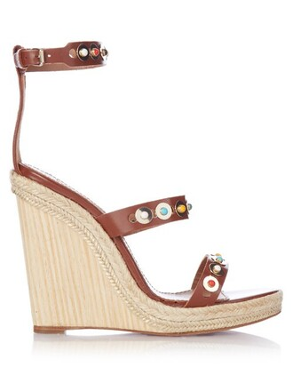 embellished wedges leather wedges leather tan shoes