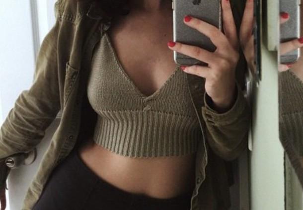 blouse knitwear top tank top crop tops bralette bracelets knitted crop top army green khaki iphone