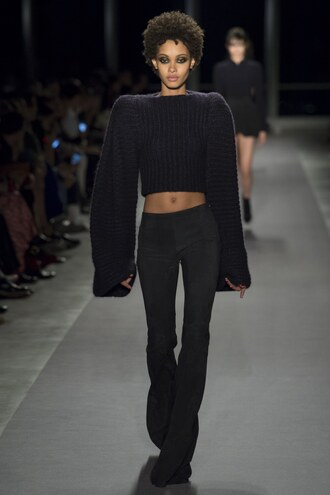 sweater crop tops cropped cropped sweater runway ny fashion week 2017 brandon maxwell pants all black everything nyfw 2017