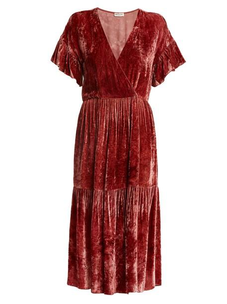 MASSCOB dress midi dress midi velvet red