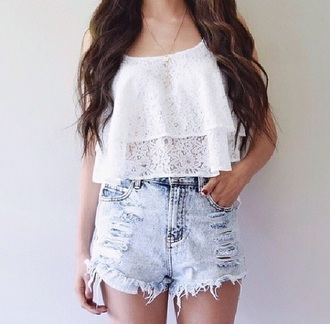 top crop tops white white top white crop tops white crop top lace top lace crop top lace tops white lace white lace top shorts denim shorts denim high waisted shorts torn clothes summer top summer shorts summer outfits summer girly