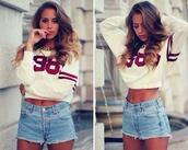 t-shirt,crop tops,98,one,clothes,shirt,shorts,sweater,colorful,jumper,cropped sweater,High waisted shorts,top,long sleeves,burgundy detail,hairstyles,denim,sweatshirt,red,white,maroon/burgundy,jersey,casual,oversized,jacket