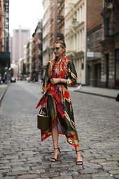 dress,printed dress,mid heel sandals,side split,earrings,bag,sunglasses