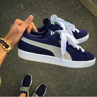 shoes puma sneakers puma sneakers blue navy white dark blue sneakers blue sneakers suede classic sneackers