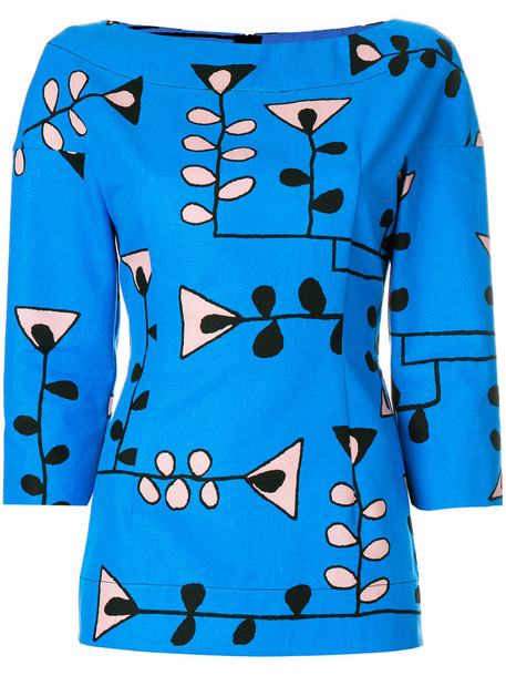 MARNI blouse women floral cotton print blue top