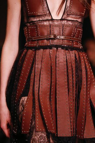 dress leather brown studs belt waist belt cleavage couture
