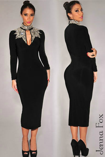 New sexy black long sleeve silver sequin mock neck midi bodycon v