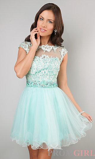 Short Cap Sleeve Dresses, Short Prom Dress, Lace Dress- PromGirl