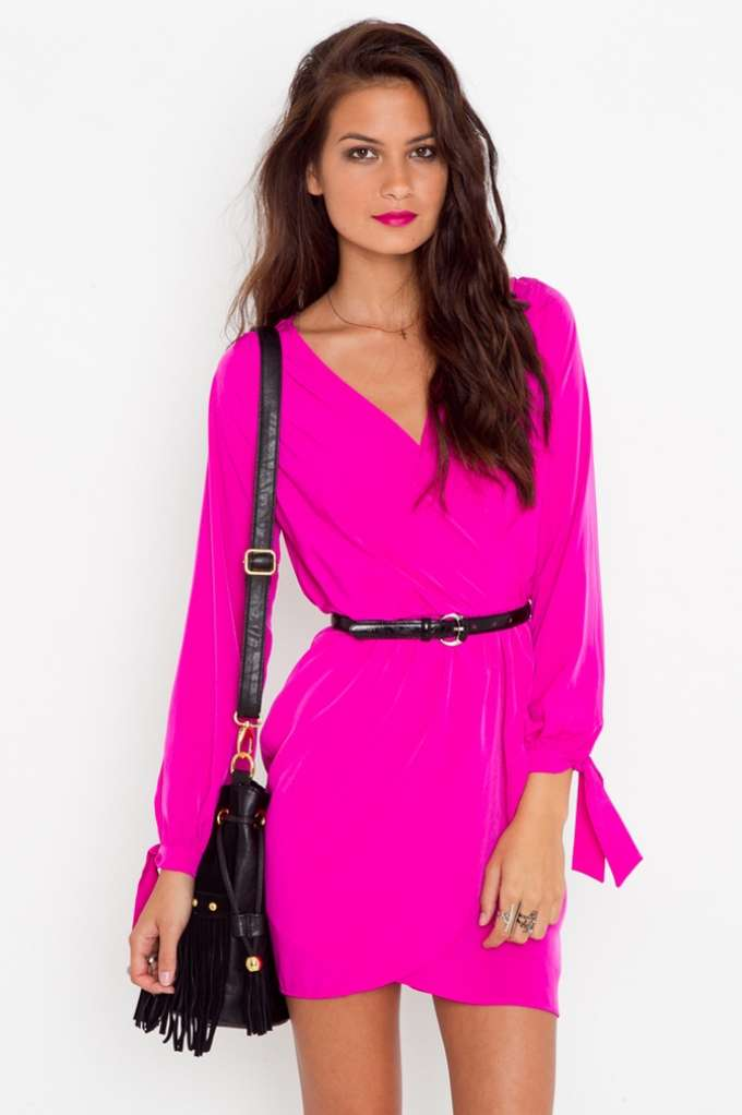 Tied Wrap Dress - Fuchsia | Shop Clothes at Nasty Gal