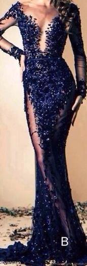 dress,ziad nakad,embellished dress,sequin dress,blue dress,prom dress,prom gown,long dress,long prom dress,long sleeve dress