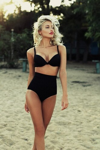 swimwear high waisted bra bikini retro bikini high waisted bikini blonde hair lovely like beach fashion girl summer black swimwear vintage black high waisted pants underwear black high waisted cute old fashion swimwear black bikini hot push up swimwear asos black bikini bottom botto bottoms maillot noir black and white