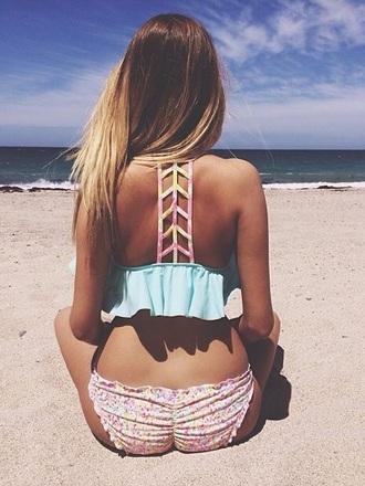 swimwear bikini beach beachwear summer blue swimwear pink swimwear