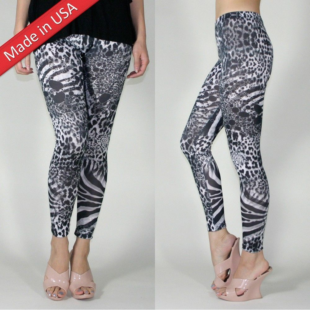 New animal print tiger zebra leopard black white dots leggings tights pants