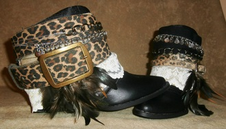 shoes boho etsy gypsy ethnic handmade cowboy boots hippie bohemian festival free shipping promo leopard print upcycled boots summer festival