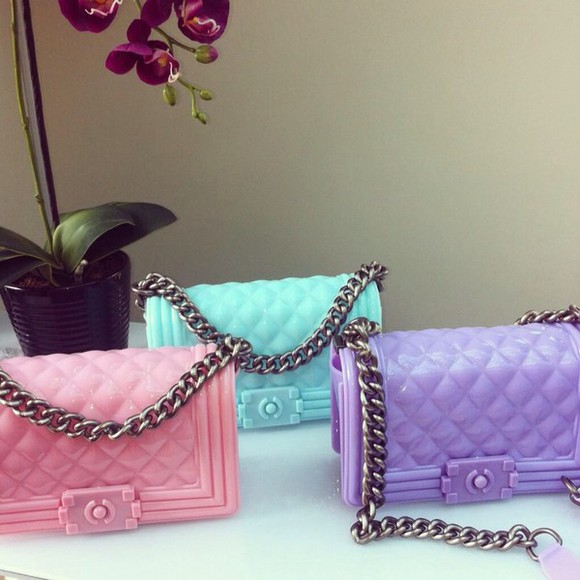 bag purse pastel purse pastel bag jellies jelly purse jelly bag chain