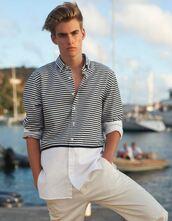 shirt,menswear,mens shirt,presley gerber,model,pants,mens pants,striped shirt