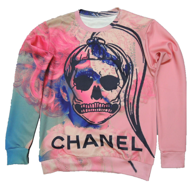 Free shipping!Hot!Fashion! 2014 Iswag bianzi fashion HARAJUKU 3d doodle powder thin lovers skull loose sweatshirt iswag-inHoodies & Sweatshirts from Apparel & Accessories on Aliexpress.com