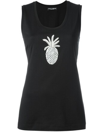 tank top top women pineapple beaded cotton black silk