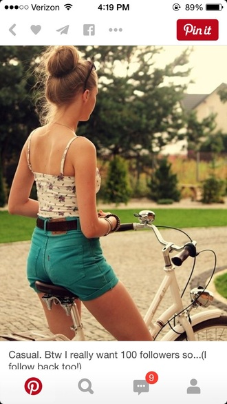 shorts teal high waisted shorts denim shorts summer top summer shorts style floral tank top top