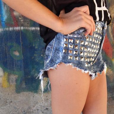 Glam Acid Studded Shorts - Arad Denim