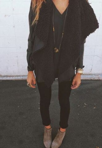 jacket vest cardigan sweater outerwear suede sheepskin clothes fashion all black everything black outfit jewels waterfall jacket shearling jacket fall outfits fur fur coat top faux fur vest boho boho chic black boots stylish gold cute winter outfits