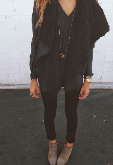 jacket suede fur fur coat vest cardigan sweater outerwear sheepskin clothes fashion all black black outfit