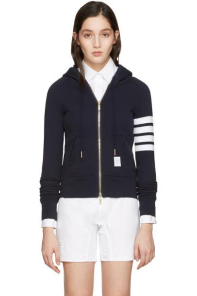 Thom Browne navy hoodie classic sweater