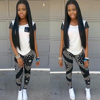 tights bandana leggings converse white and black