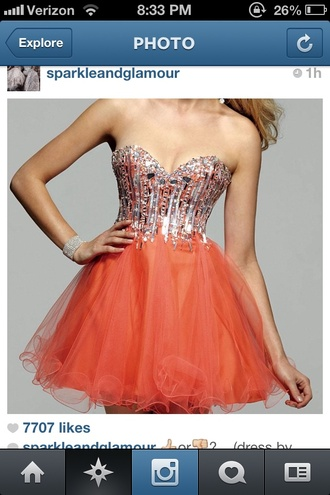 dress prom dress orange dress short dress